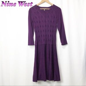 Nine West Eggplant sweater Fit n Flare Dress S